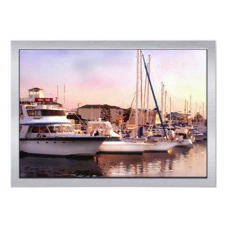 Newport Beach Harbor at Dusk 13 Cm X 18 Cm Invitation Card