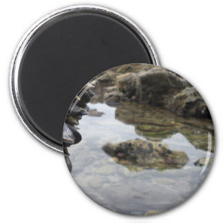 Newport Beach Rocks and Muscles 6 Cm Round Magnet
