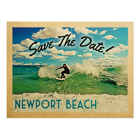 Newport Beach Save The Date California Surfing Postcard