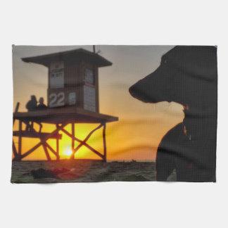 Newport Beach Sunset Tea Towel