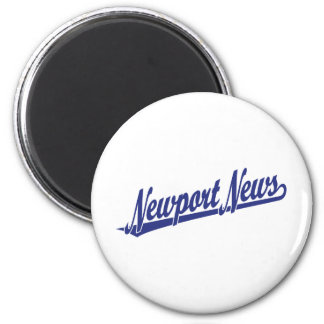 Newport News script logo in blue Fridge Magnets