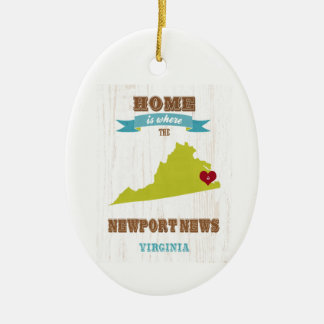 Newport News, Virginia Map – Home Is Where Christmas Ornament