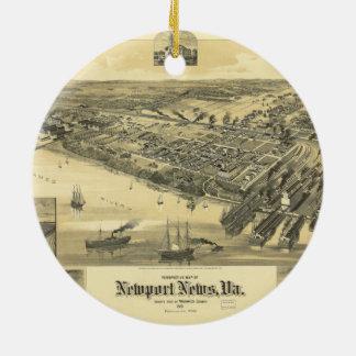 Newport News Virginia Warwick County Map 1891 Round Ceramic Decoration
