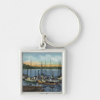 Newport, Oregon - Salmon Fishing Fleet in Yaquin Silver-Colored Square Key Ring