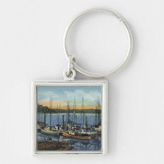 Newport, Oregon - Salmon Fishing Fleet in Yaquin Silver-Colored Square Key Ring
