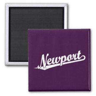 Newport script logo in white distressed refrigerator magnet