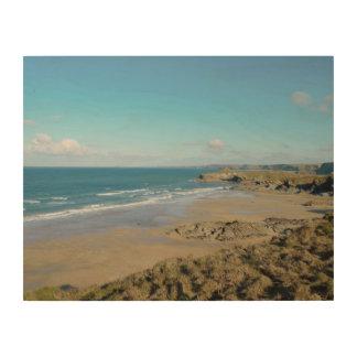 Newquay Bay Beaches Cornwall England Wood Print