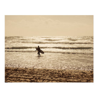 Newquay Surfer at Sunset Postcard