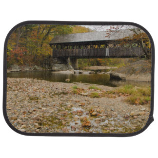 Newry Covered Bridge over river in autumn Car Mat