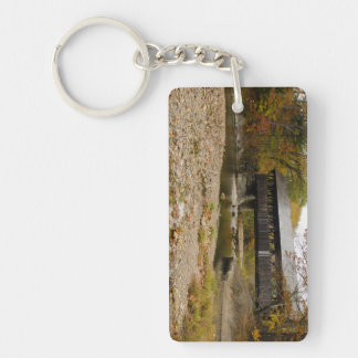 Newry Covered Bridge over river in autumn Double-Sided Rectangular Acrylic Key Ring
