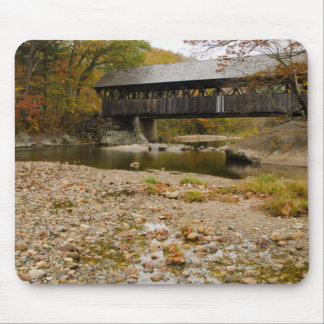 Newry Covered Bridge over river in autumn Mousepads