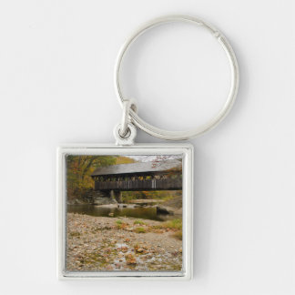 Newry Covered Bridge over river in autumn Silver-Colored Square Key Ring