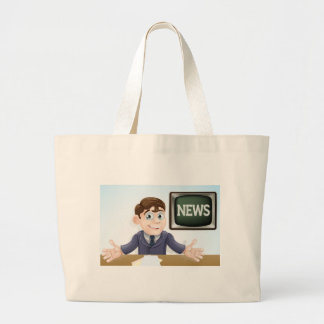 News anchor man canvas bags