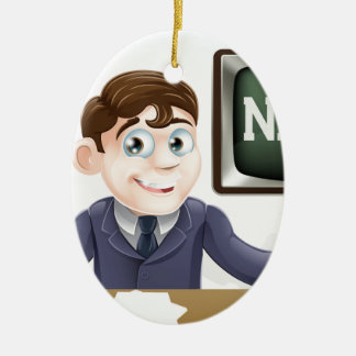 News anchor man ceramic oval decoration