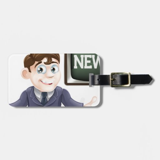News anchor man luggage tag