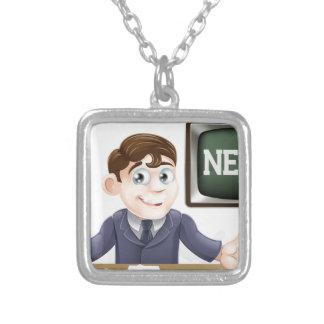 News anchor man necklace
