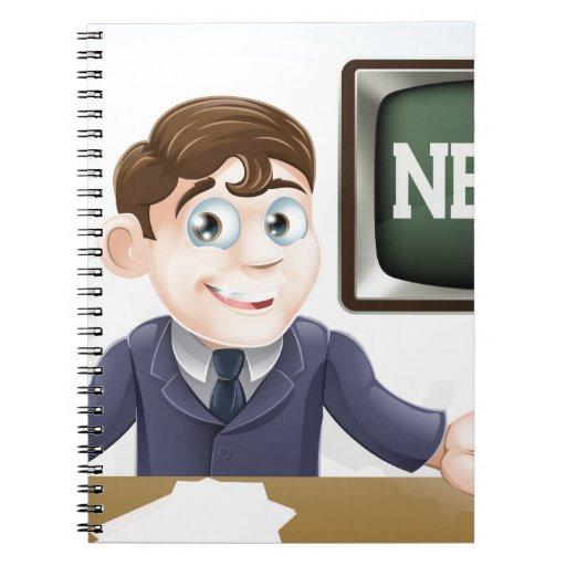 News anchor man notebooks