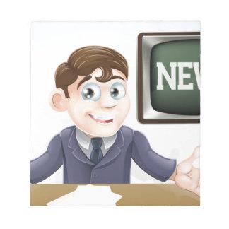 News anchor man note pad