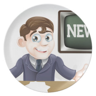 News anchor man party plates