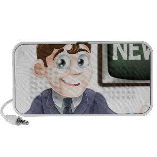 News anchor man notebook speaker
