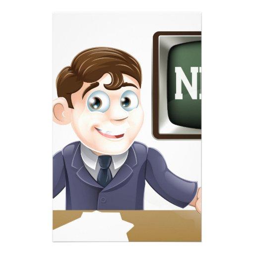 News anchor man stationery design