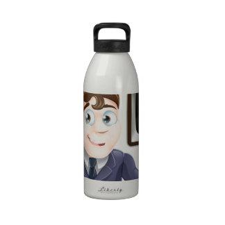 News anchor man drinking bottles