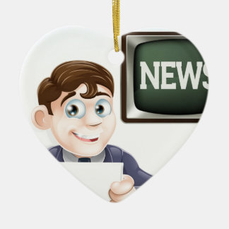 News reporter ceramic heart decoration