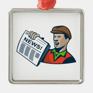 Newsboy Newspaper Delivery Retro Christmas Ornament
