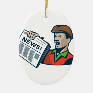 Newsboy Newspaper Delivery Retro Christmas Ornament
