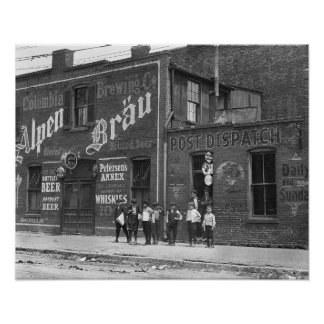 Newsboys Outside a Saloon, 1910. Vintage Photo Poster