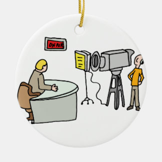 Newscaster reporting live in a studio christmas ornament