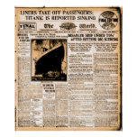 Newspaper April 15 1912 Titanic Reported Sinking Poster