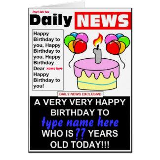 Newspaper headline cards invitations zazzle newspaper birthday card stopboris Images