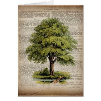newspaper french botanical art vintage oak tree greeting card