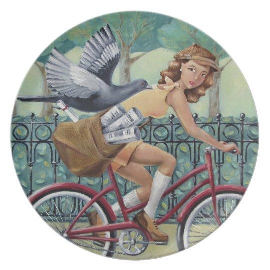 Newspaper Girl & Bicycle Melamine Plate
