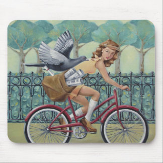 Newspaper Girl & Bicycle Mousepad