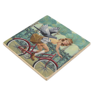 Newspaper Girl & Bicycle Wood Coaster