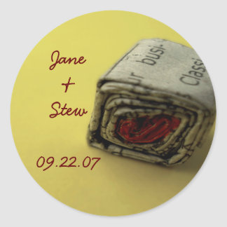 Newspaper Love Save the Date Sticker