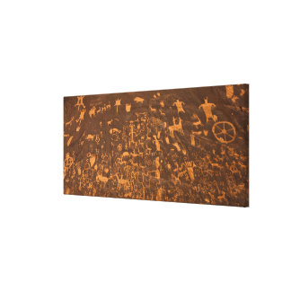 Newspaper Rock is a petroglyph panel etched in Stretched Canvas Prints