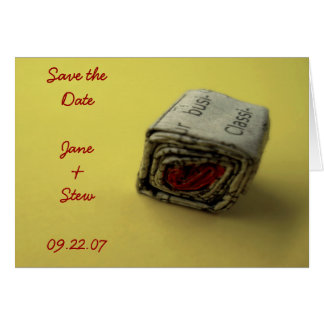 Newspaper Valentine Save the Date Greeting Card