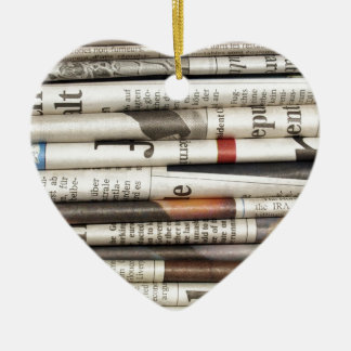 Newspapers Ceramic Heart Decoration