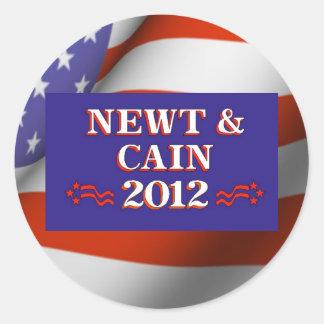 NEWT & CAIN 2012 ROUND STICKER