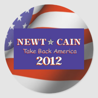 Newt Cain Take Back America 2012 Round Stickers