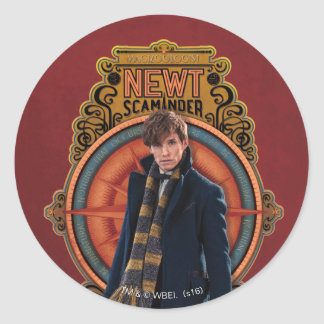 NEWT SCAMANDER™ Standing Art Nouveau Panel Classic Round Sticker