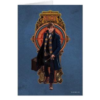 Newt Scamander Walking Art Nouveau Panel Greeting Card