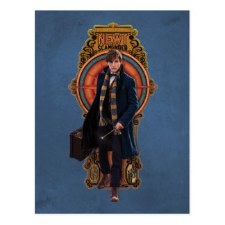 NEWT SCAMANDER™ Walking Art Nouveau Panel Postcard
