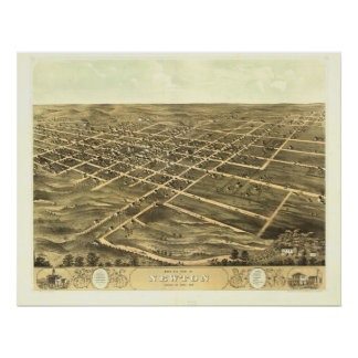 Newton 1868 Antique Panoramic Map Posters