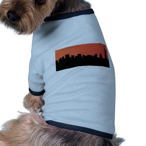 newyork skyline comic style dog t-shirt