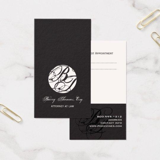 Next Appointment Cards, monogram DIY colour Business Card
