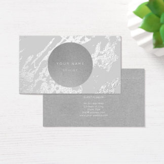 Next Appointment Circle Kraft Silver Gray Marble Business Card